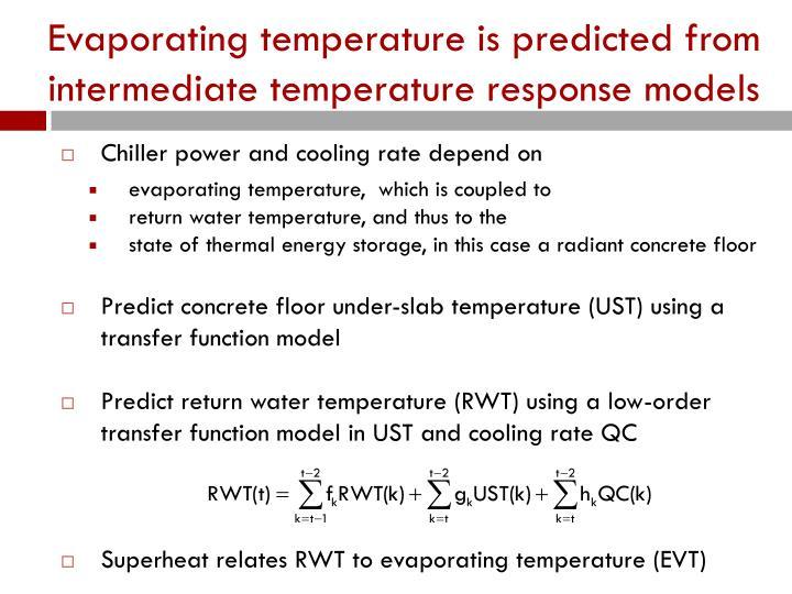 Evaporating temperature is predicted from intermediate temperature response models