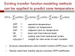 existing transfer function modeling methods can be applied to predict zone temperature