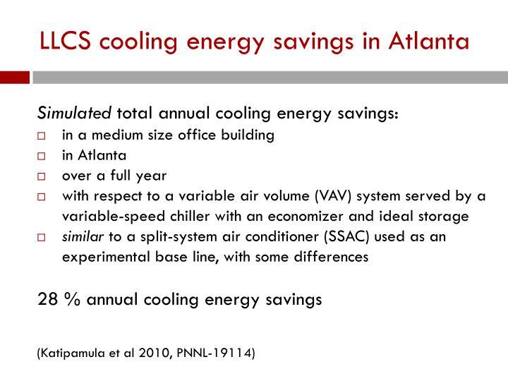 LLCS cooling energy savings in Atlanta