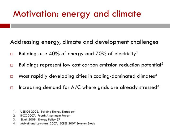 Motivation energy and climate