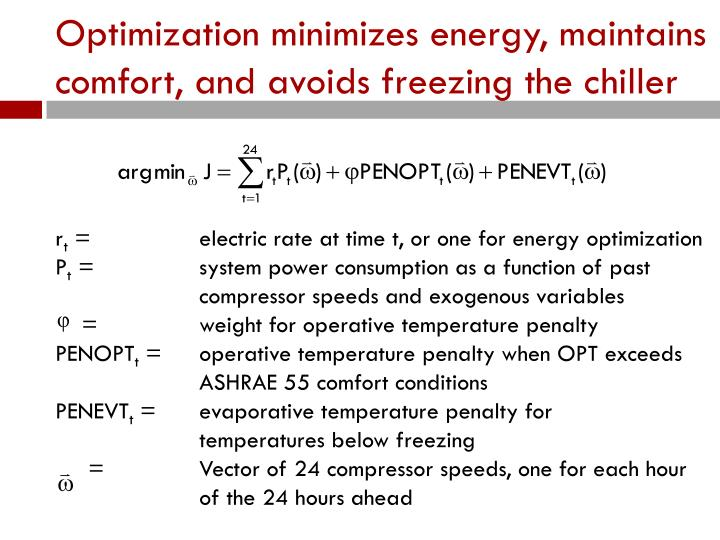 Optimization minimizes energy, maintains comfort, and avoids freezing the chiller
