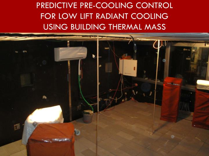 predictive pre cooling control for low lift radiant cooling using building thermal mass