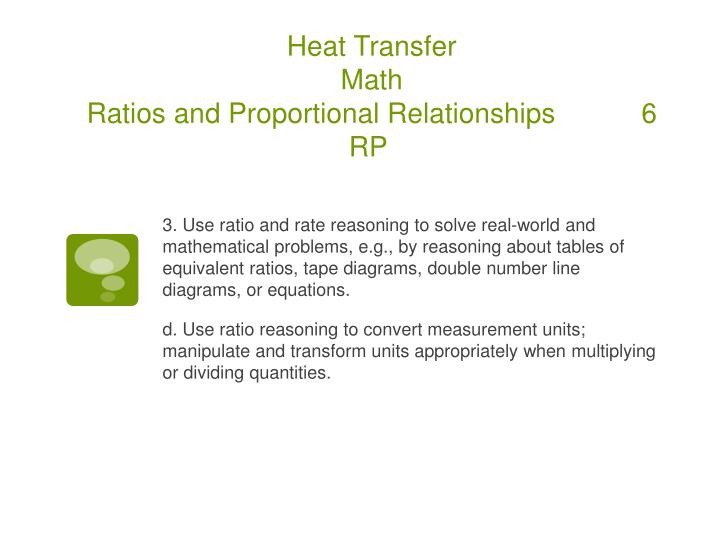 Heat transfer math ratios and proportional relationships 6 rp