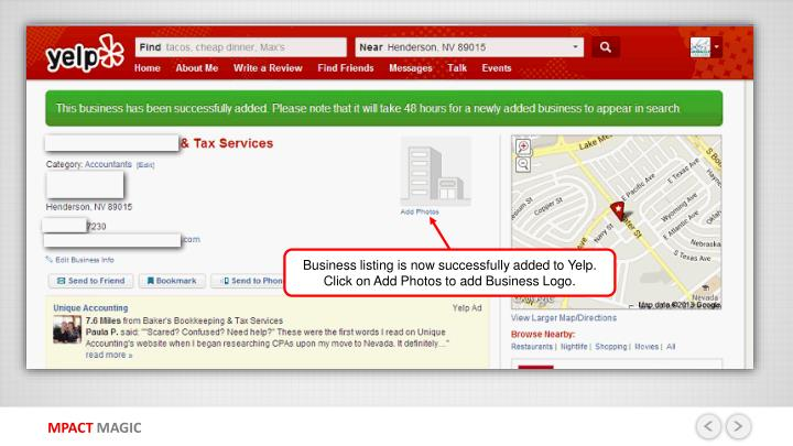 Business listing is now successfully added to Yelp. Click on Add Photos to add Business Logo.
