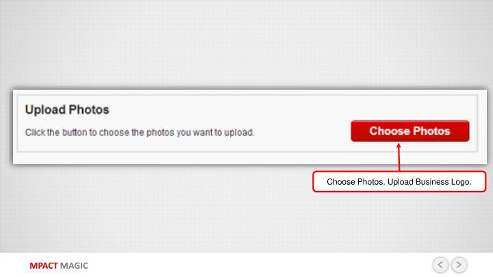 Choose Photos. Upload Business Logo.