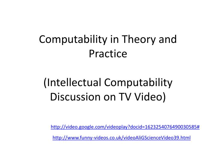 Computability in Theory and Practice