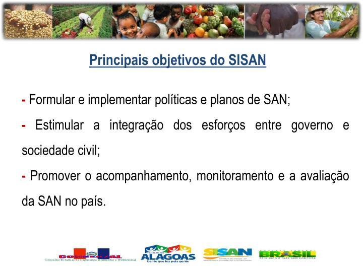 Principais objetivos do SISAN