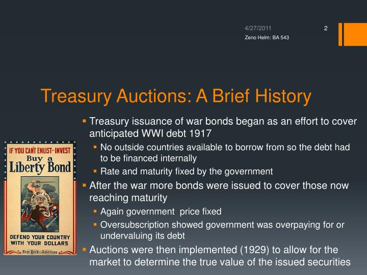 Treasury auctions a brief history