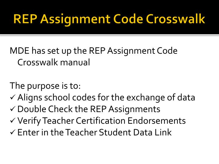 REP Assignment Code Crosswalk