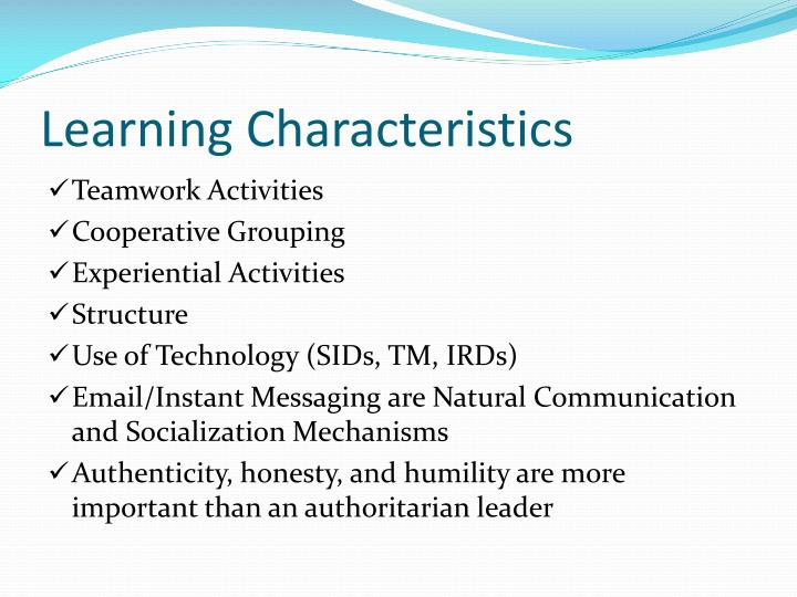 Learning Characteristics