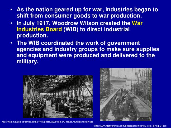 As the nation geared up for war, industries began to shift from consumer goods to war production.