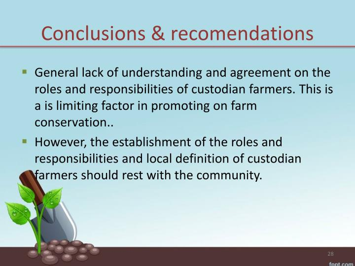 Conclusions & recomendations