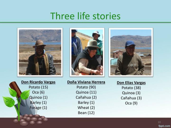 Three life stories