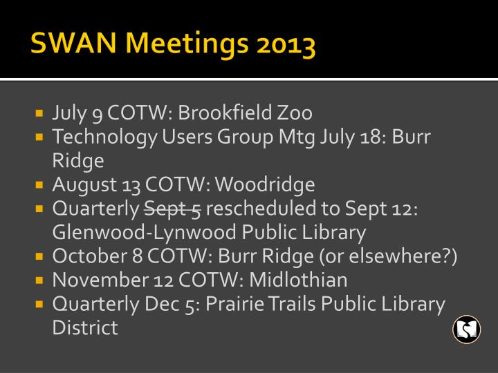 SWAN Meetings 2013