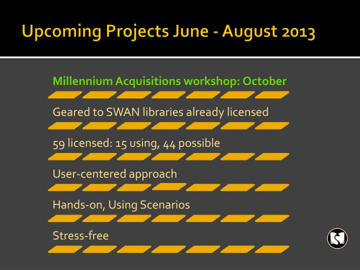 Upcoming Projects June - August 2013