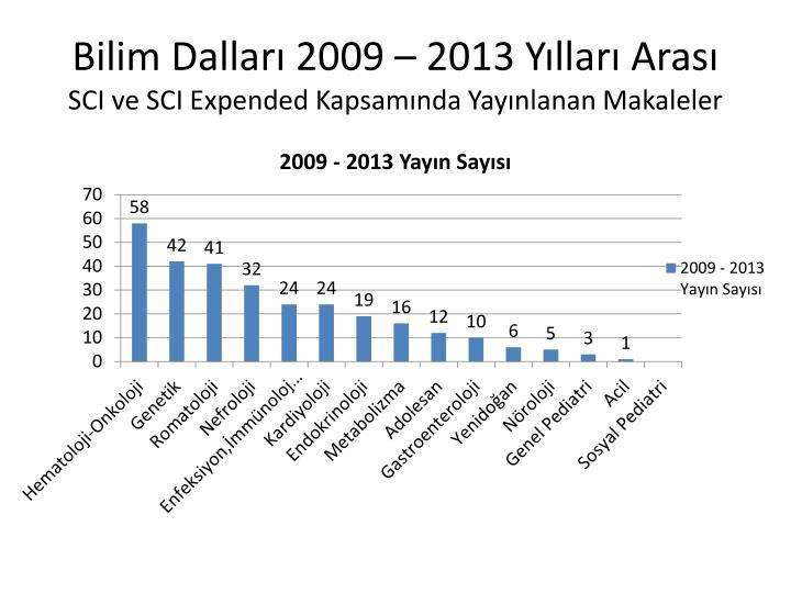 Bilim Dalları 2009 – 2013 Yılları Arası