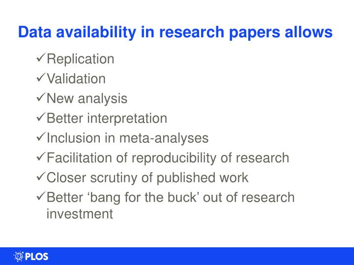 Data availability in research papers allows