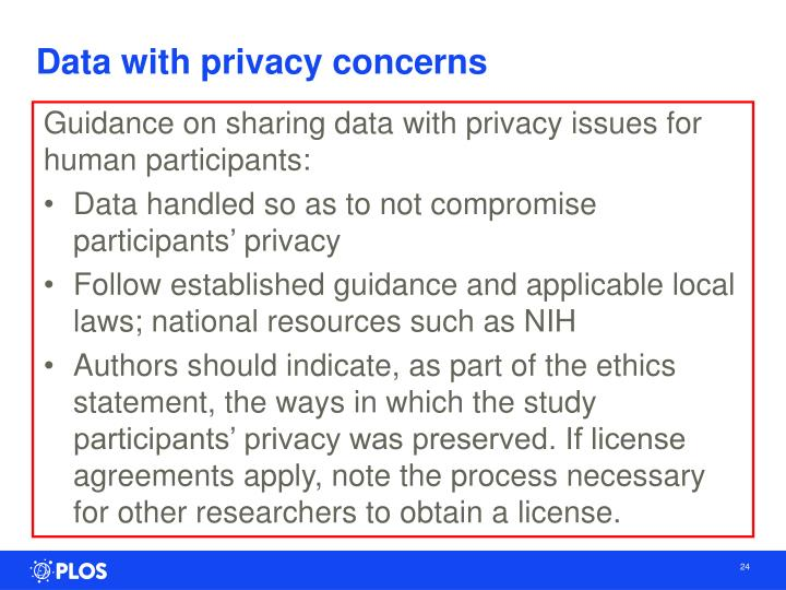 Data with privacy concerns
