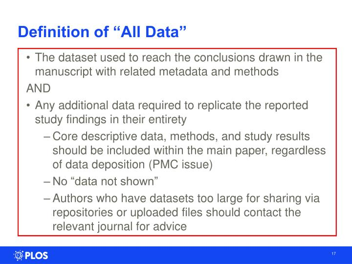 "Definition of ""All Data"""