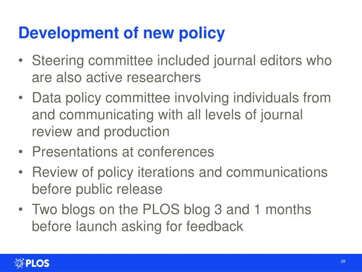 Development of new policy