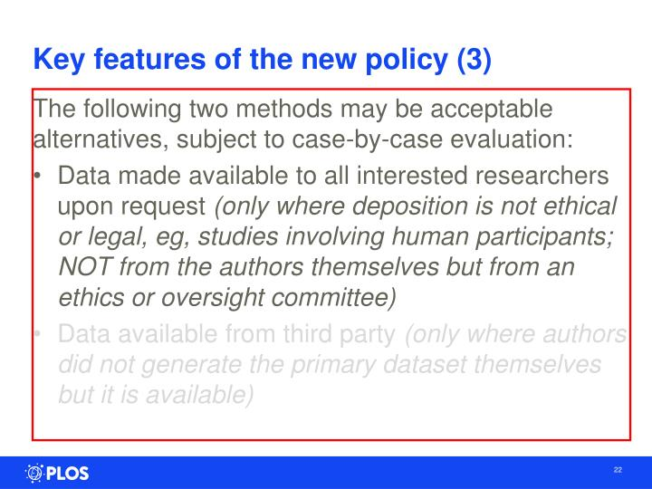 Key features of the new policy (3)