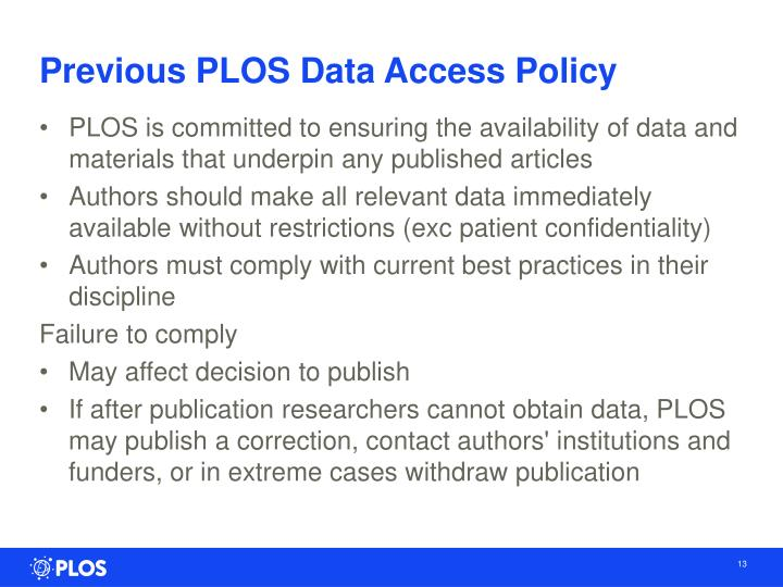Previous PLOS Data Access Policy