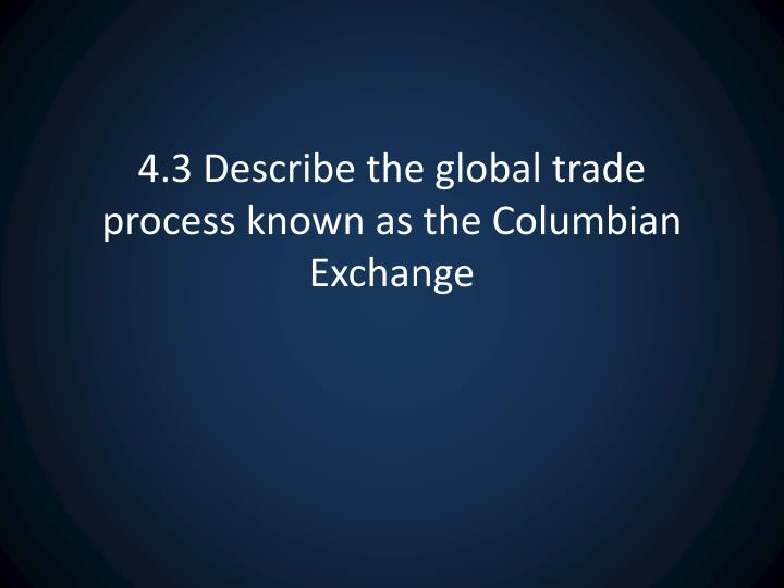 4.3 Describe the global trade process known as the Columbian Exchange