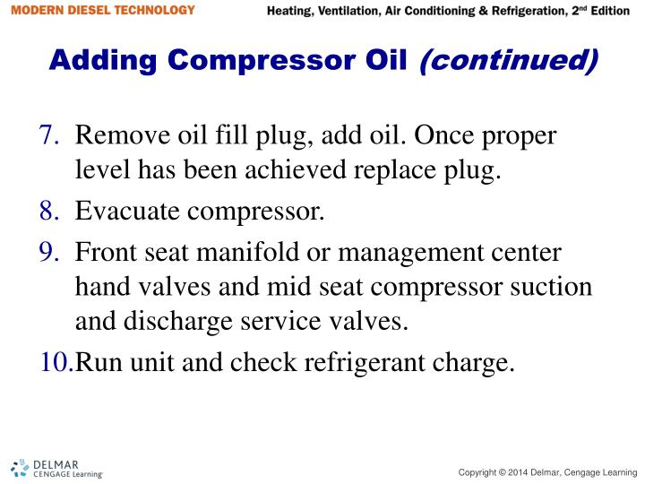 Adding Compressor Oil