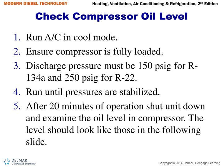 Check Compressor Oil Level