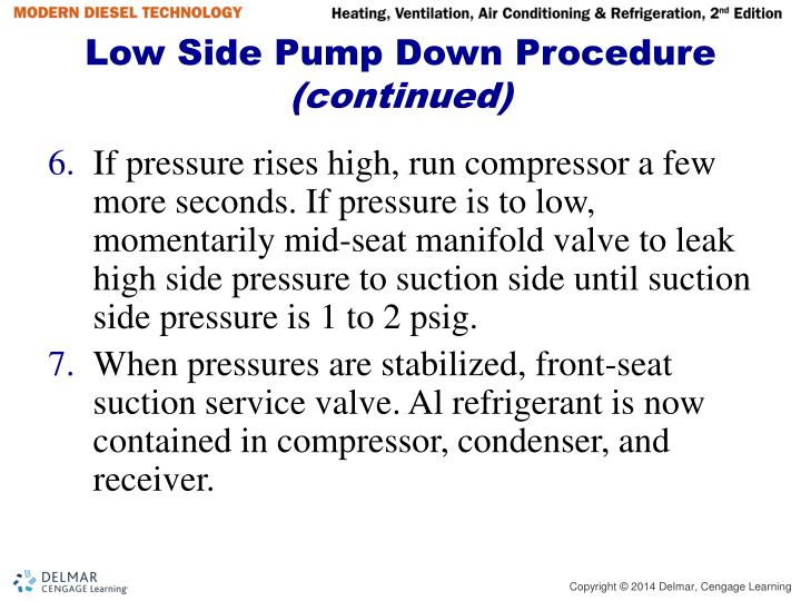 Low Side Pump Down Procedure