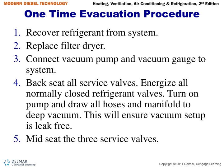 One Time Evacuation Procedure