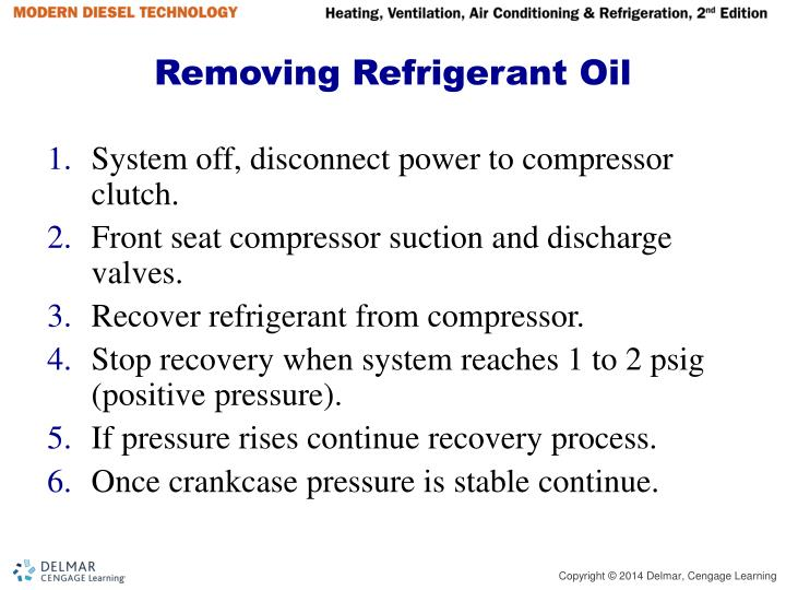Removing Refrigerant Oil