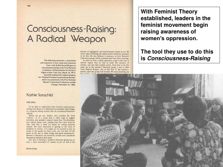 With Feminist Theory established, leaders in the feminist movement begin raising awareness of womens oppression.