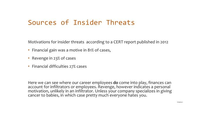 Sources of Insider Threats