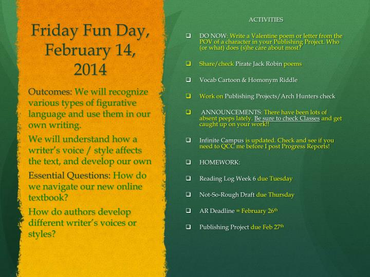 Friday Fun Day, February 14,