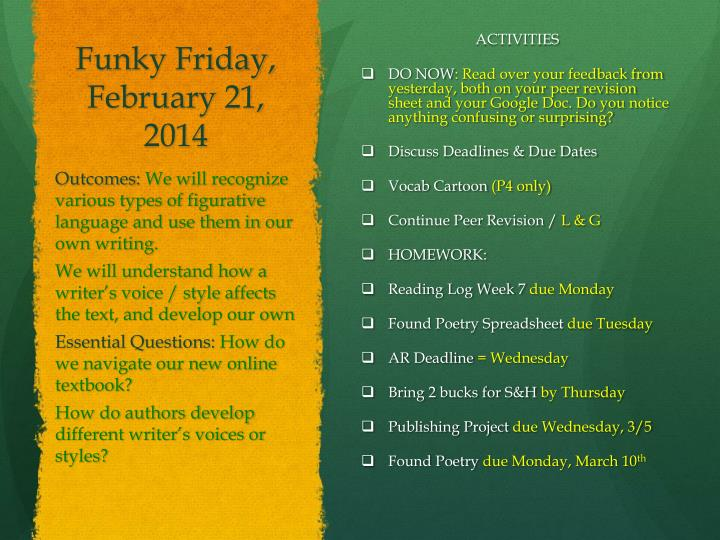 Funky Friday, February 21,