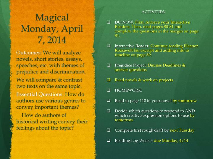 Magical Monday, April 7