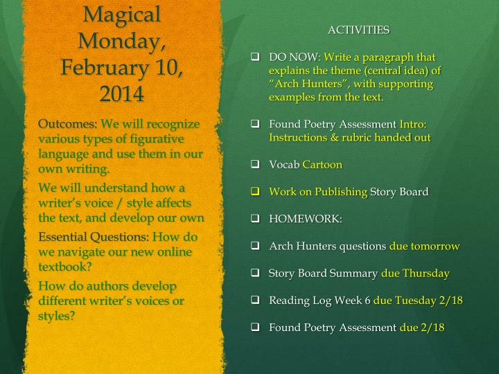 Magical Monday, February 10,