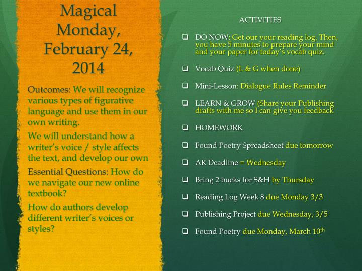 Magical Monday, February 24,