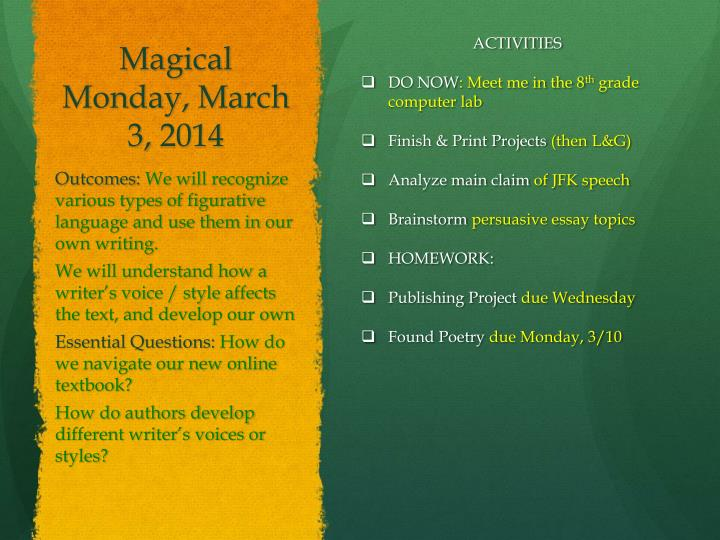 Magical Monday, March 3,