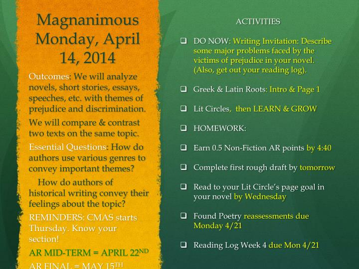 Magnanimous Monday, April 14