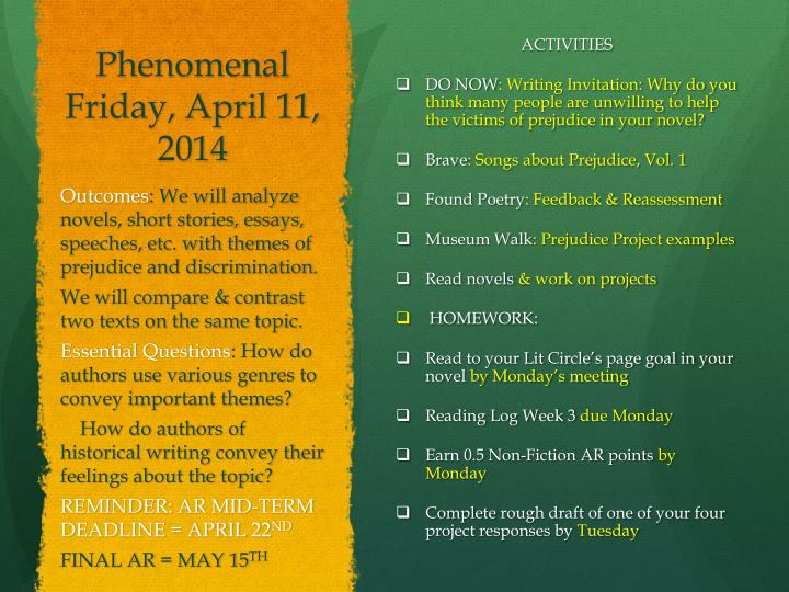 Phenomenal Friday, April 11