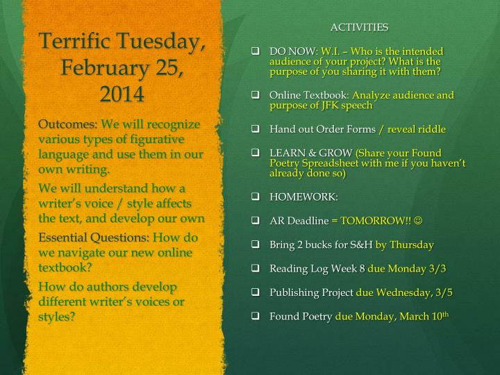 Terrific Tuesday, February 25,