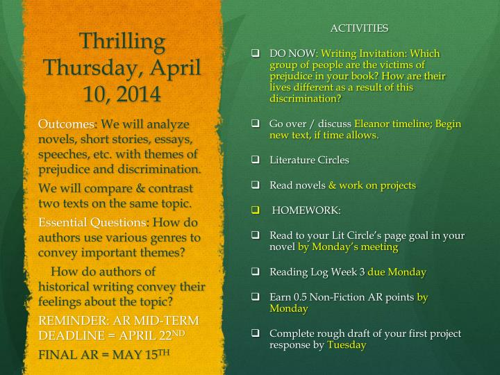 Thrilling Thursday, April 10