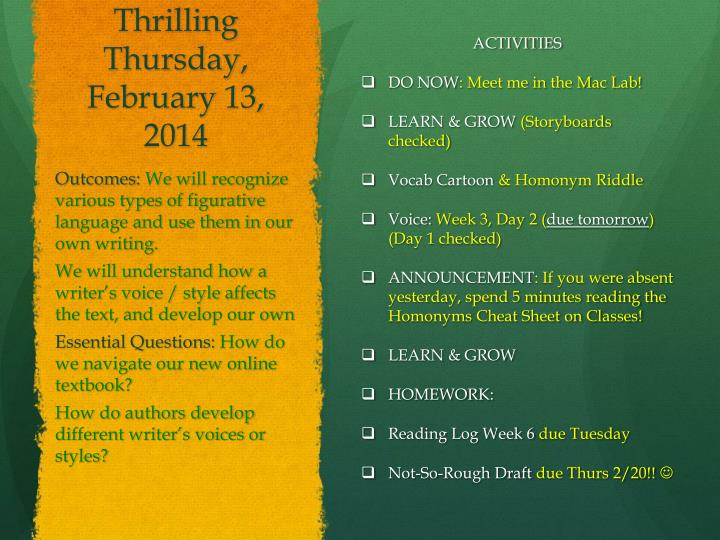Thrilling Thursday, February 13,