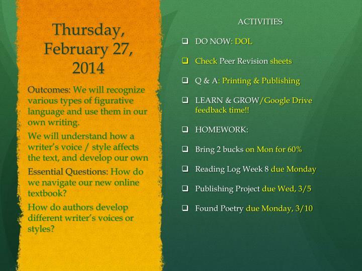 Thursday, February 27,