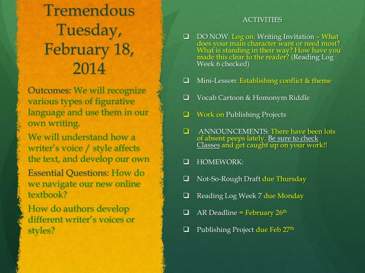 Tremendous Tuesday, February 18,