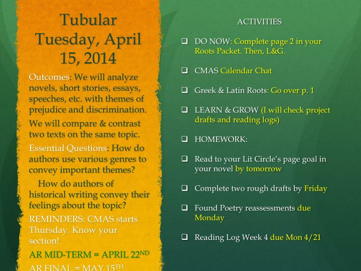 Tubular Tuesday, April 15
