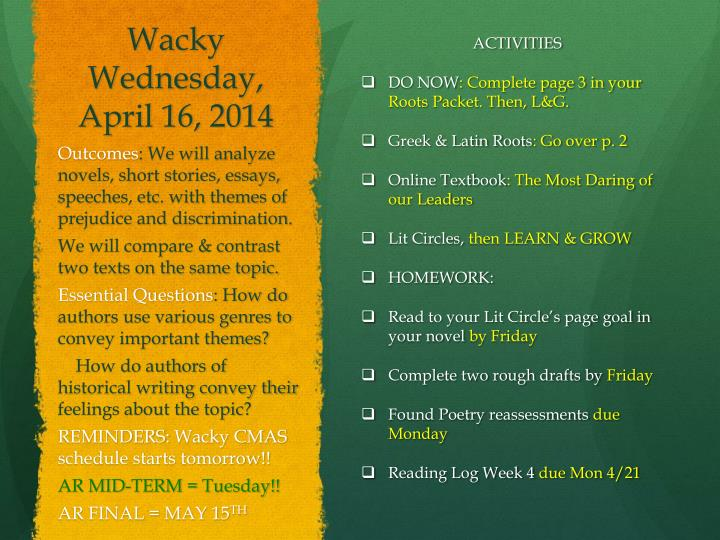 Wacky Wednesday, April 16