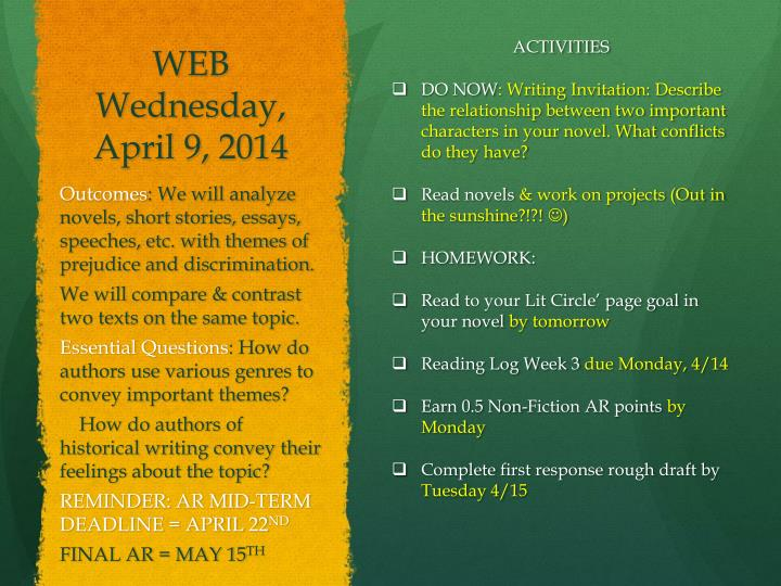 WEB Wednesday, April 9